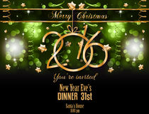 2016 Christmas and Happy New Year Party flyer. Complete layout with space for text for your dinner invitation, xmas parties or new year's eve party flyer Royalty Free Stock Images