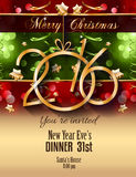 2016 Christmas and Happy New Year Party flyer. Complete. Layout with space for text for your dinner invitation, xmas parties or new year's eve party flyer Stock Photos