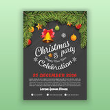 Christmas & Happy New Year Party Flyer Template. Christmas Party Decoration With Chalkboard Background. Vector Illustration Design. A4 Layout Stock Images