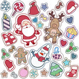 Christmas and Happy new year patch badges with Santa, Deer, Snow. Man, Fir-tree and other symbols of Holidays. Vector doodle illustrations isolated on blue vector illustration