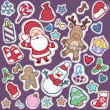 Christmas and Happy new year patch badges with Santa, Deer, Snow. Man, Fir-tree and other symbols of Holidays. Vector doodle illustrations isolated on blue royalty free illustration