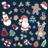 Christmas and Happy new year patch badges. With Santa, Deer, Snowman, Fir-tree and other symbols of Holidays. Vector doodle illustrations  on blue background Stock Photography