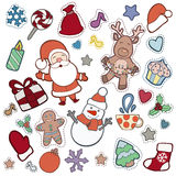 Christmas and Happy new year patch badges. With Santa, Deer, Snowman, Fir-tree and other symbols of Holidays. Vector doodle illustrations on blue background vector illustration
