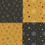 Christmas and happy new year pattern set. Winter holiday pattern. With gold and black color. Vector illustration Royalty Free Stock Image
