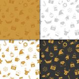 Christmas and happy new year pattern set. Winter holiday pattern. With gold and black color. Vector illustration Stock Photos