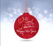 Christmas and happy new year red geometrical balls greeting card.  royalty free illustration
