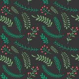 Christmas and happy new year seamless pattern with leaves decora. Tion. Winter holiday pattern for background or gift wrapping paper. Vector illustration royalty free illustration