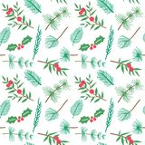 Christmas and happy new year seamless pattern with leaves decoration. Winter holiday pattern for background or gift wrapping paper. Vector illustration royalty free illustration