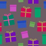 Christmas and Happy New Year seamless pattern with striped colorful gift boxes on brown background. Trendy retro style. Vector des. Ign template royalty free illustration