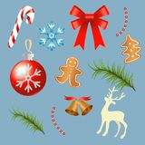 Christmas and Happy New Year Set. Collection of Party Objects and Decorations. Isolated Vector illustration. Stock Images