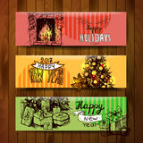 Christmas and happy new year. Sketch vector banners merry christmas and happy new year Royalty Free Stock Photo