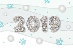 Christmas and happy new year 2019 template. Silver glitter numbers and winter paper cut out background. royalty free illustration