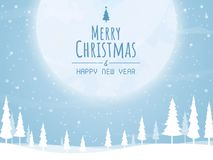 Christmas and happy new year,christmas tree big moon vector. Christmas and happy new year,tree big moon vector n stock illustration