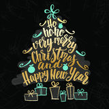 Christmas and Happy New Year tree word cloud, holidays hand lettering collage. Vector element for your design on chalkboard dark background royalty free stock photography