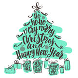 Christmas and Happy New Year tree word cloud, holidays hand lettering collage. Vector elements for your design on white background vector illustration