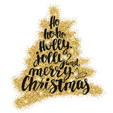 Christmas and Happy New Year trees word cloud, holidays hand lettering collage. Decorative illustration with golden glitter texture. Vector elements for your stock illustration