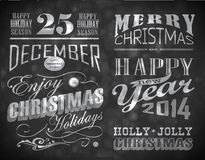 Christmas and Happy New Year typography Royalty Free Stock Photography
