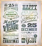 Christmas and Happy New Year typography Royalty Free Stock Photo