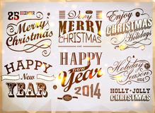 Christmas and Happy New Year typography Stock Image