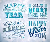 Christmas and Happy New Year typography. Labels,calligraphic elements. Christmas decoration Stock Photos