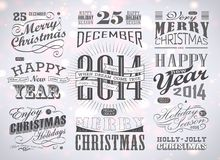 Christmas and Happy New Year typography. Labels,calligraphic elements. Christmas decoration Stock Photo