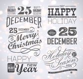 Christmas and Happy New Year typography. Labels,calligraphic elements. Christmas decoration Stock Images