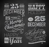 Christmas and Happy New Year. Typography, labels,calligraphic elements. Christmas decoration drawing with chalk on blackboard royalty free illustration
