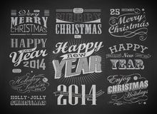 Christmas and Happy New Year typography. Labels,calligraphic elements. Christmas decoration drawing with chalk on blackboard stock illustration