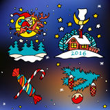 Christmas and happy new 2016 year vector cartoon icons. Set of bright and colorful illustrations on winter abstract background royalty free illustration