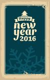 Christmas and Happy New Year 2016. Vector vintage illustration for greeting card, poster, flayer, web, banner. Old paper texture d. Ark background Royalty Free Stock Images