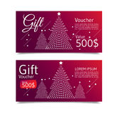 Christmas and happy new year voucher. Christmas tree and snowflakes. vector Royalty Free Stock Photo