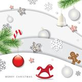 Christmas and happy new year winter background. 3d paper cutout layers with decorative elements. vector illustration