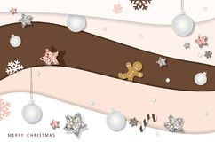 Christmas and happy new year winter background. Paper cutout layers, decorated with glitter stars, snowflakes and balls. royalty free illustration