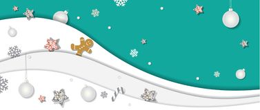 Christmas and happy new year winter background. Paper cutout layers, decorated with glitter stars, snowflakes and balls. vector illustration