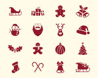 Christmas, Happy New Year and Winter icons Stock Photo
