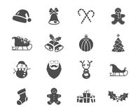 Christmas, Happy New Year and Winter icons Royalty Free Stock Photos