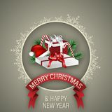 Christmas and Happy New Year wish with gift boxes, red ribbon, magic wand, green branches and white frame snowflake. Vector design. Christmas and Happy New Year Stock Photos