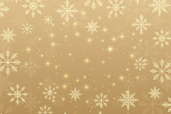 Christmas and Happy New Years background with golden snowflakes. Vector illustration. Royalty Free Stock Image