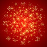 Christmas and Happy New Years background with golden snowflakes. Vector illustration. Royalty Free Stock Photo