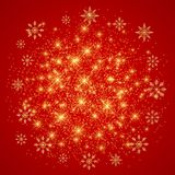 Christmas and Happy New Years illustration . Red background with golden snowflakes . Christmas and Happy New Years illustration . Red background with golden stock illustration
