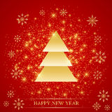 Christmas and Happy New Years on the red background  with golden snowflakes, fir . Vector illustration Royalty Free Stock Photography