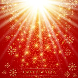 Christmas and Happy New Years on the red background  with golden snowflakes . Vector illustration.  Stock Photography