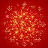 Christmas and Happy New Years on the red background with golden snowflakes . Vector illustration.  vector illustration