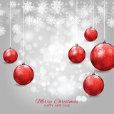 Christmas and happy nwe year invitation with Christmas balls. Stock Photos