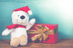 Christmas happy teddy bear in vintage style Royalty Free Stock Photos
