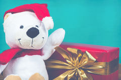 Christmas happy teddy bear in vintage style Stock Images
