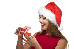 Christmas happy woman in santa red hat Royalty Free Stock Photos