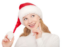 Christmas happy young woman isolated on white background Royalty Free Stock Image