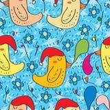 Christmas hat bird sleep seamless pattern. Illustration Christmas hat bird sleep seamless pattern blue flower background Royalty Free Stock Images