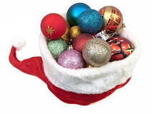 Christmas hat with Christmas balls Royalty Free Stock Photos